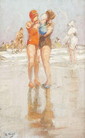 vue dune plage animée dun couple de baigneuses et enfant au premier plan by kurt peiser