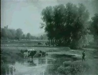 a figure fishing and cattle grazing by the river before   haddon fall by walter henry pigott