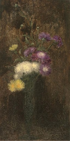 Purple white and yellow flowers in a tall vase by alfred frederick purple white and yellow flowers in a tall vase by alfred frederick william hayward mightylinksfo