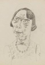 brustbild einer frau mit gelocktem haar und halskette by jeanne mammen