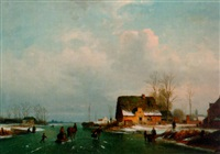a dutch winter landscape with figures skating by henri de smeth