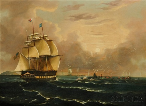 whaling scene with the american bark carolus of new bedford massachuset by thomas chambers