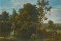 a landscape with travellers stopping to rest by a river by gaspar de witte