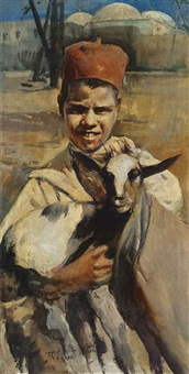 boy with a goat by romualdo locatelli