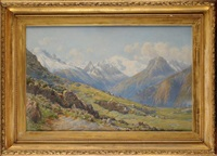 mont blanc - panoramic view with goats and a goatherd in the foreground by charles jones way