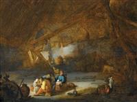 scheuneninterieur mit zechenden bauern by bartholomeus molenaer