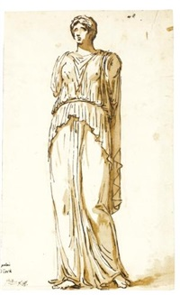 study of an antique statue of a standing woman by jacques-louis david