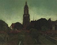oude stadswal en toren van rhenen bij avond - a view of rhenen by eduard karsen