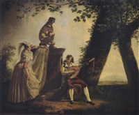 alban peasants in a park near rome by jacques sablet