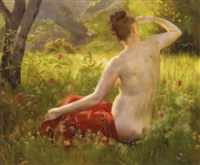 nude in a summer landscape by emile-louis foubert