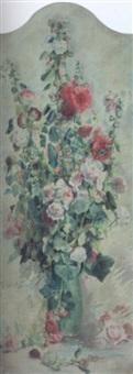 bouquet de roses trémières by zacharie astruc