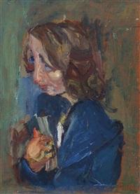 portrait d'une jeune fille (fille en blouse bleue) by chaïm soutine