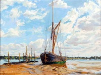 moored boats in an estuary by margaret glass