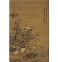 五德图 (five chickens and flowers) by liang ji