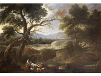 drovers resting with their flocks in an extensive hillside landscape by dutch school (18)