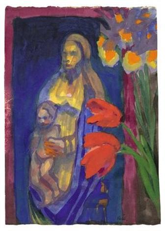 madonna und blumen by emil nolde