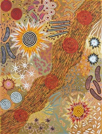 le rêve du feu du bush/bush fire dreaming by nungarrayi michelle possum