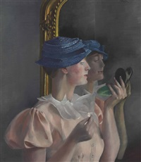 londa vor dem spiegel (in kleinem blauen hütchen) by conrad felixmüller