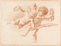 fliegende putti (after poussin) by bernard picart