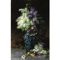 nature morte aux lilas et pensées by albert tibule furcy de lavault