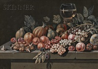 still life with fruit and vegetables (+ another; 2 works) by paul lelong