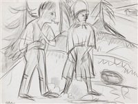 stehendes bauernpaar am hang by ernst ludwig kirchner