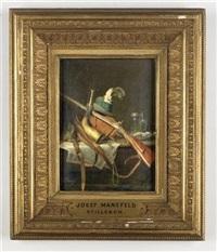stilleben mit jagdausrüstung, gewehr, hut mit hahnenfeder und jagdhorn by josef mansfeld