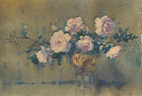 roses in a bronze pot by james gray