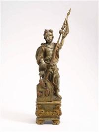 hl. florian einen hausbrand mit seinem kübel löschend, in der erhobenen linken die fahnenlanze by christian jorhan the elder