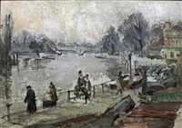 the thames at richmond - river scene with figures and boats to foreground and road bridge to background by louise pickard