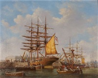 the clipper ships edith namqui and tweed docked at a harbour side by denzil smith