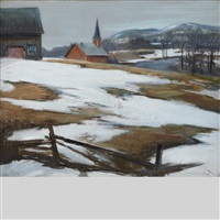 early spring across the valley, church by frank charles hennessey