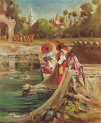 burmese women by the turtle tank, rangoon by b.h. wiles