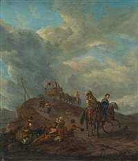 hilly path with farmers and hunters by philips wouwerman