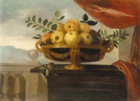 still life of apples, pears and plums in a bowl, set upon a wooden table before a landscape by pedro de camprobin