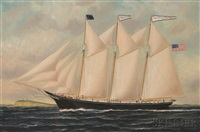 portrait of the three-masted schooner kate markee with distant lighthouse by william pierce stubbs