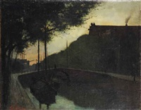 oude stad: a sunset view of a canal by eduard karsen