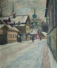 une rue à pskov en hiver by arnold borisovich lakhovsky