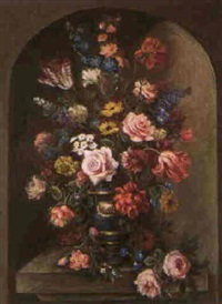 still life with floral arrangement and blue vase by dora mcrae
