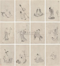 a baimiao of the arhats (album w/18 works) by qi yun