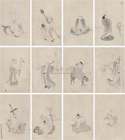 a baimiao of the arhats album w18 works by qi yun