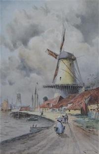 view of leyden (+ view of papendrecht; pair) by louis van staaten