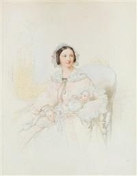 prinzessin luitpold von bayern (auguste von toscana) ihre tochter therese in den armen haltend by franz napoleon heigel