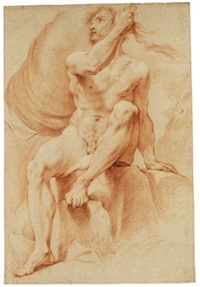 academy study of a male nude, seated on a rock by jean françois gilles colson