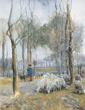 shepherd and flock by william edwin atkinson