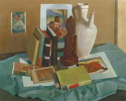 a still life with books on gauguin, a jug and an african sculpture by chris snijders