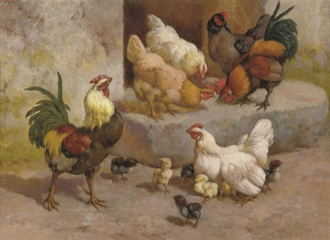 chickens chicks and cockerels by william baptiste baird