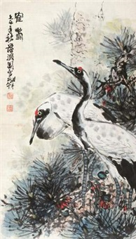 鹤寿 (crane and pine) by tan jiancheng