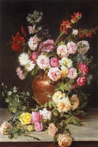 vase of flowers by licinio barzanti