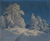 snow scene by carl woolsey